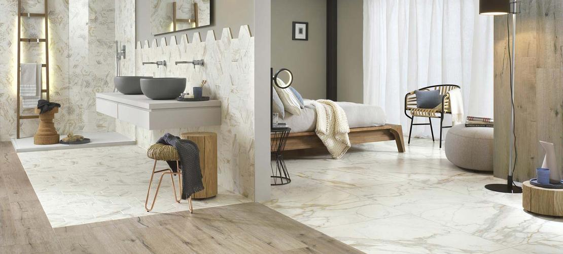 Collezione bistrot gres fine effetto pietra e marmo ragno for Piastrelle per salone