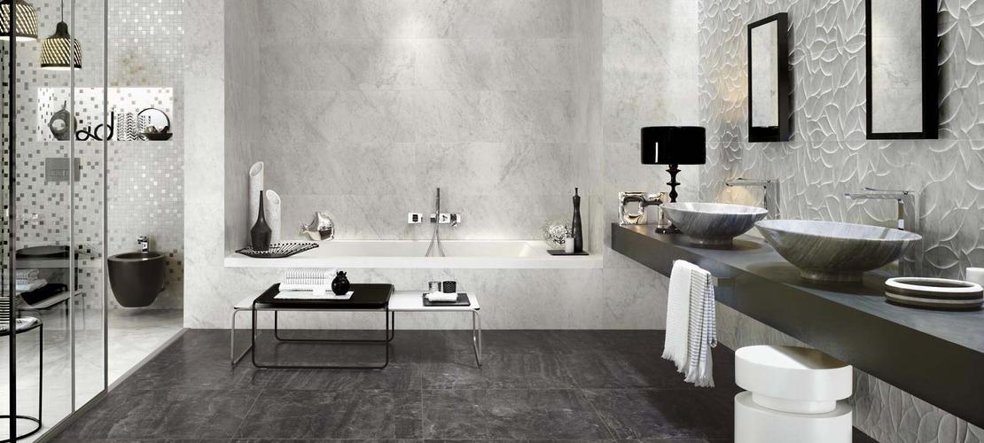 Piastrelle effetto marmo lucido con sfumature ragno - Piastrelle finto mosaico bagno ...