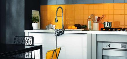 piastrelle per cucina colore giallo ragno