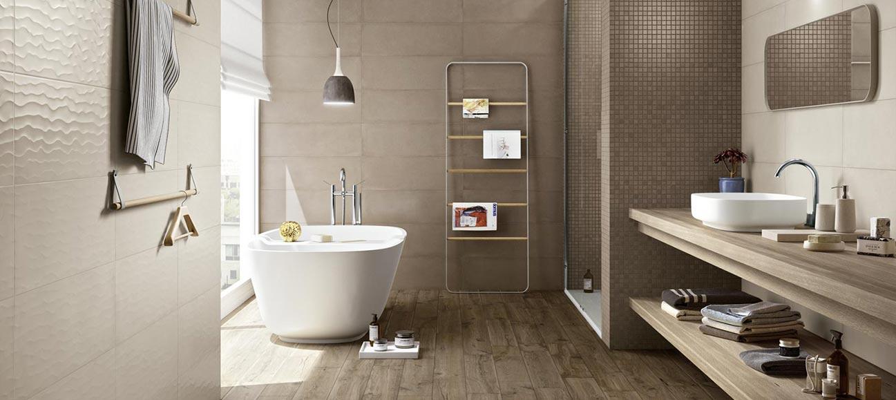 Bagno con mosaico marrone: rivestimenti e piastrelle per un bagno ...