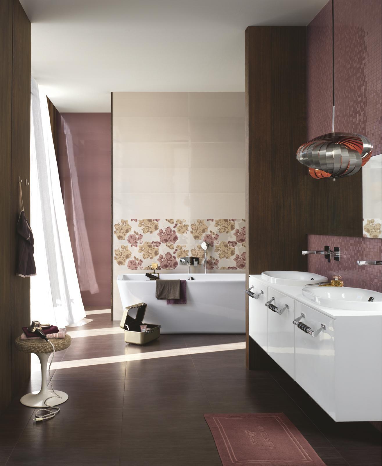 Bagno Rosa E Nero collezione still: rivestimenti lucidi per bagno   ragno