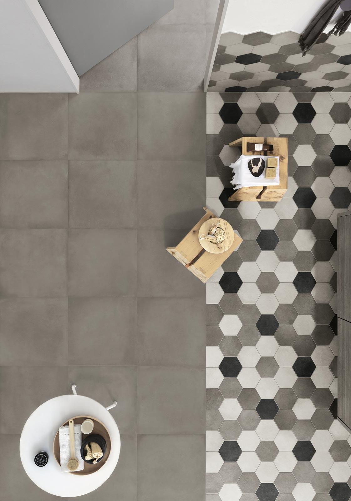 Collezione rewind gres porcellanato effetto cemento ragno for Pavimento ceramico hexagonal