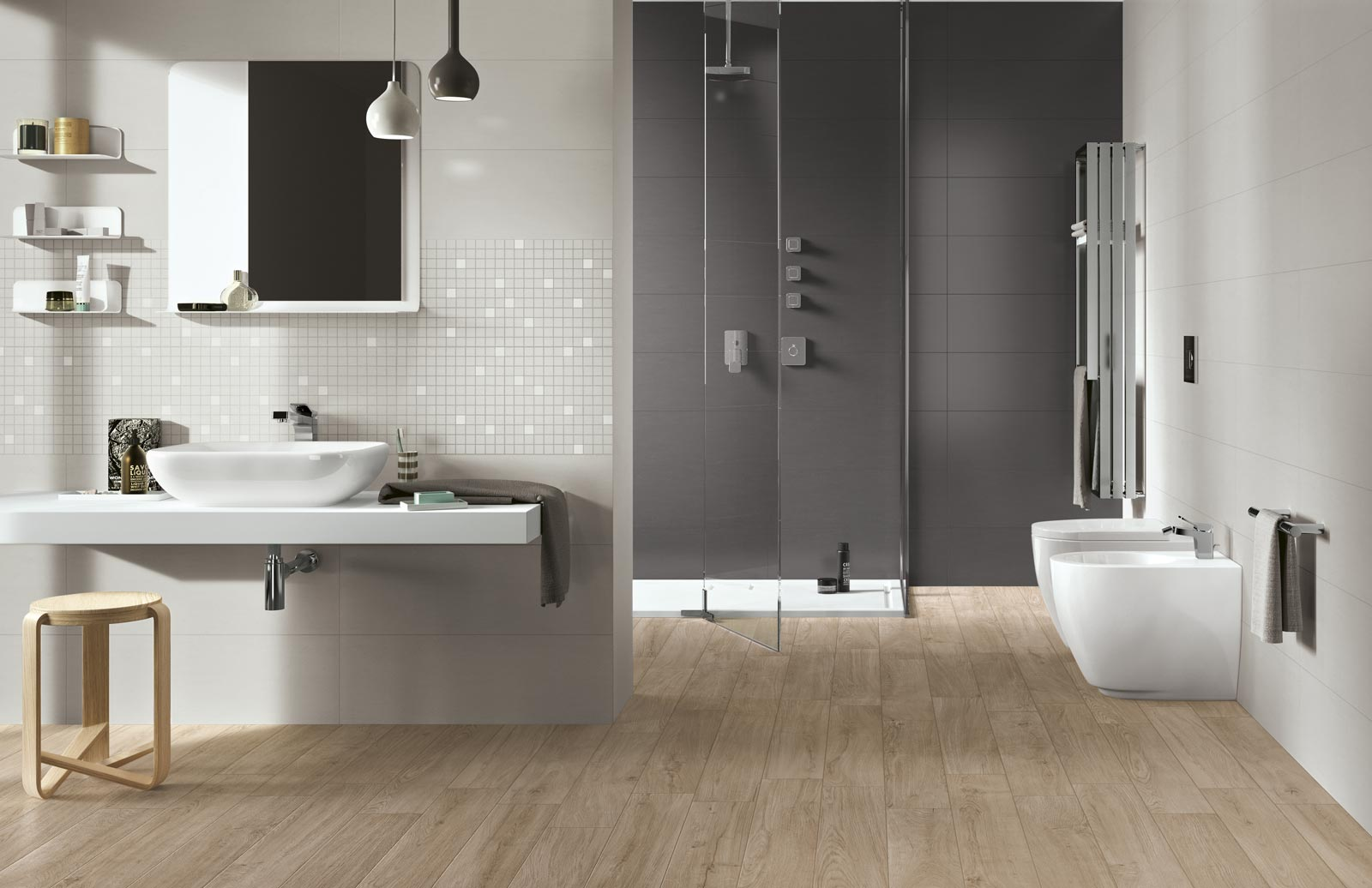 Piastrelle effetto legno e parquet ragno - Pavimento in legno per bagno ...