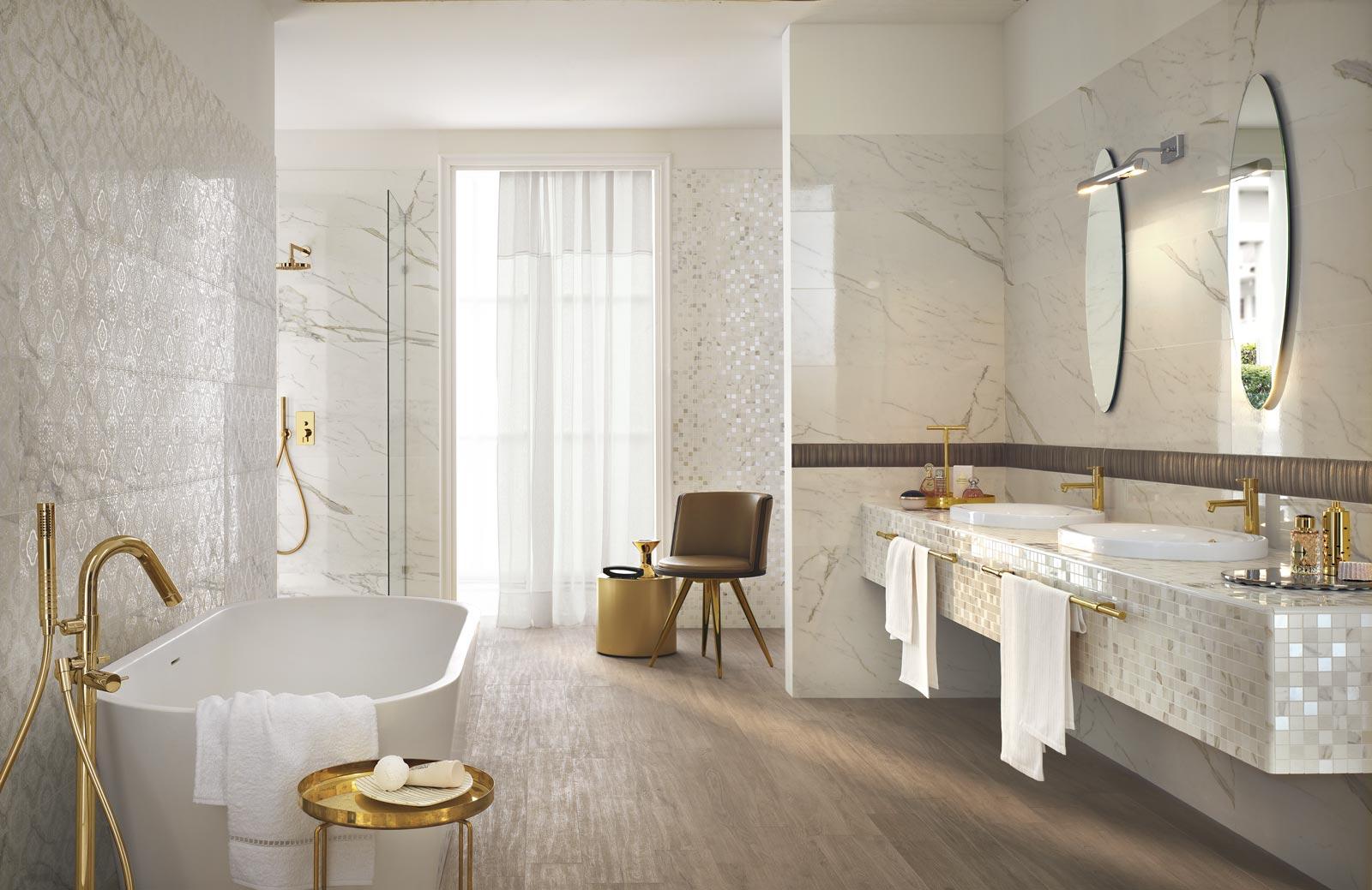 Collezione daylight rivestimenti bagno effetto marmo ragno - Ceramiche bagno classico ...