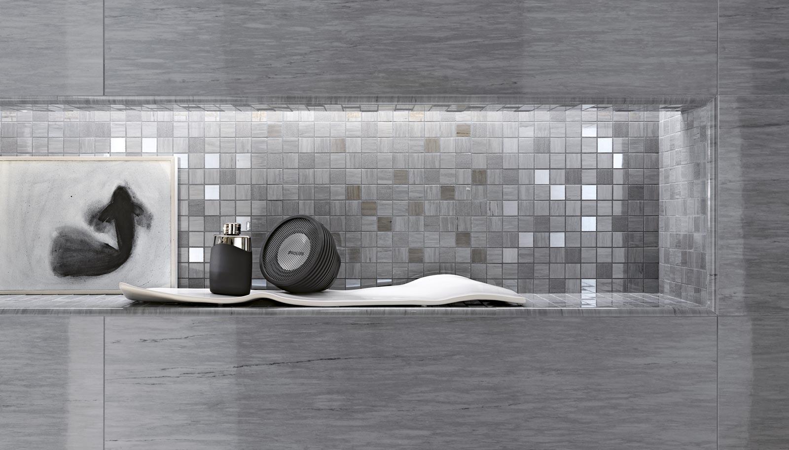 Collezione daylight rivestimenti bagno effetto marmo ragno - Piastrelle grigie bagno ...