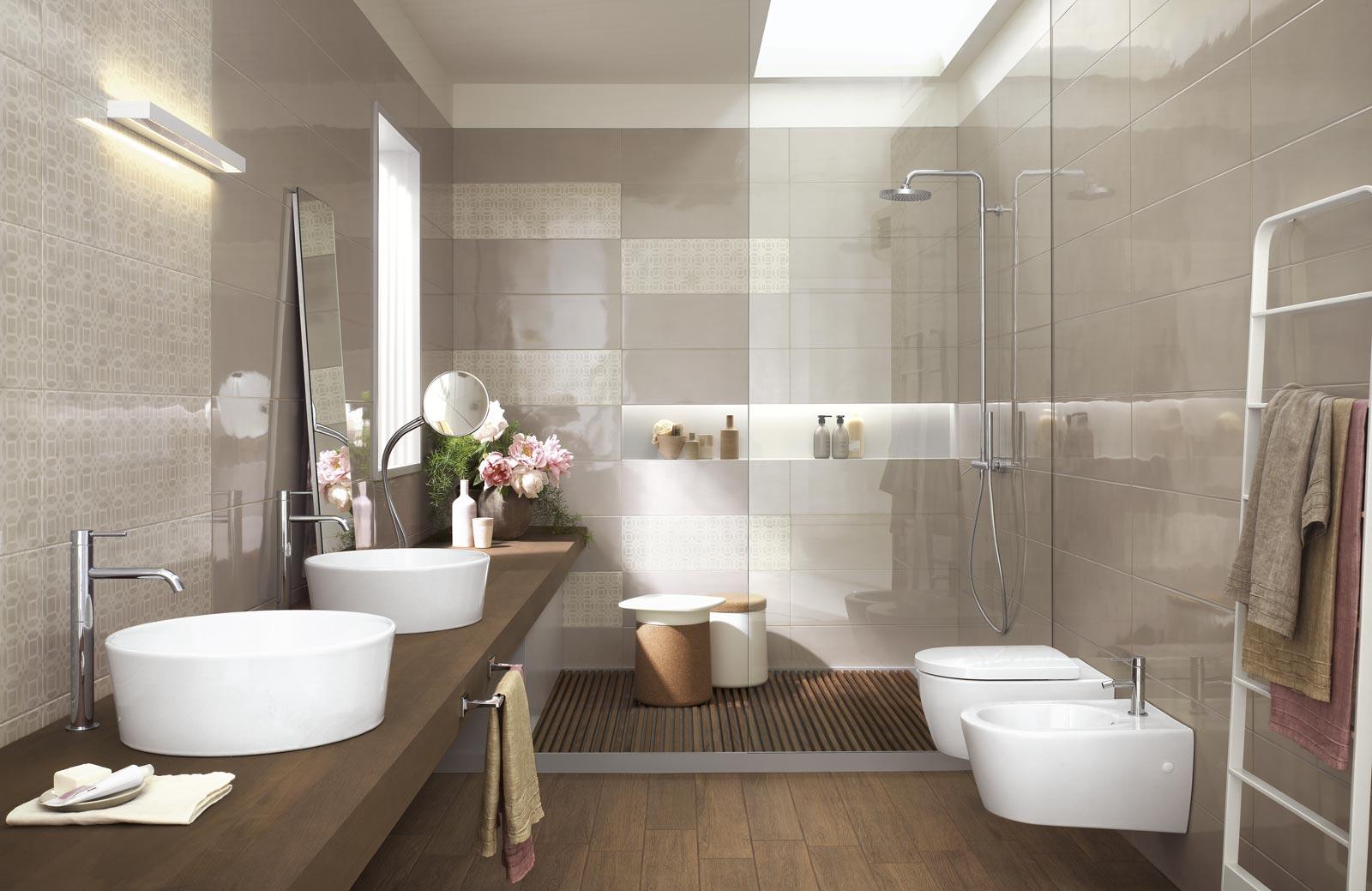 Collezione handmade rivestimenti bagno effetto lucido ragno - Salle de bain blanche et marron ...