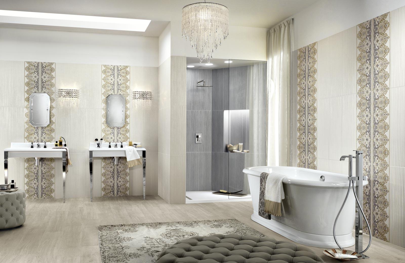 Collezione wallpaper rivestimenti classici per il bagno for Carrelage woodmania